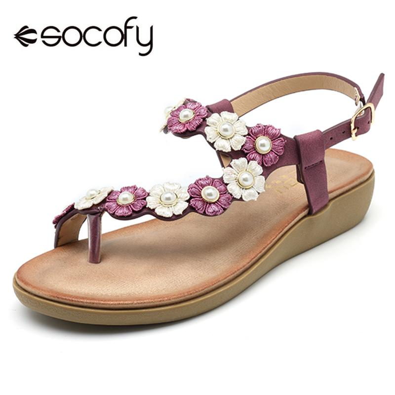 beae86c9bd93 SOCOFY Women Flower Floral Clip Toe Casual Bohemia Soft Flowers Leather  Buckle Flat Sandals Summer Casual Shoes Slides New Knee High Gladiator  Sandals ...