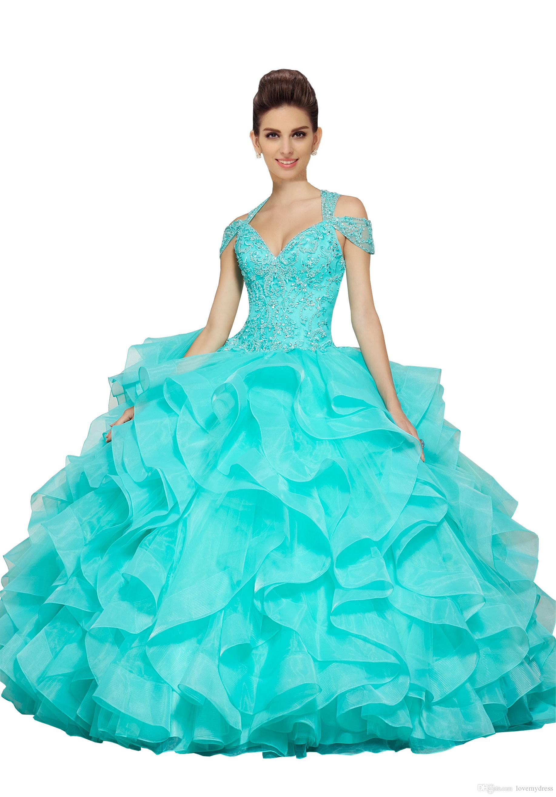 f1bad3b7c38 2019 Off The Shoulder Prom Quinceanera Dresses With Ruffles Lace  Embroidered Beaded Crystal Sequins Organza Sweet 16 Dresses For Girls Gowns  Green ...