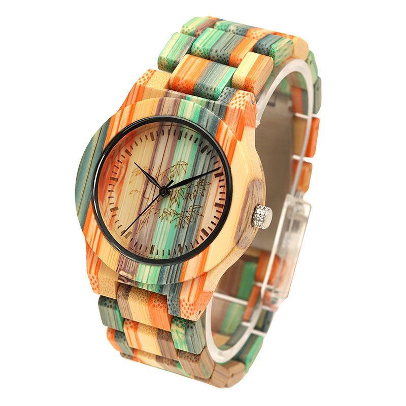 d659d9d2b73c 1 Unids Mujeres Señora Reloj de Cuarzo Muñeca Correa de Bambú de Madera  Redondo de Bambú Dial Colorido Regalo de Moda Ll @ 17 Y19052001