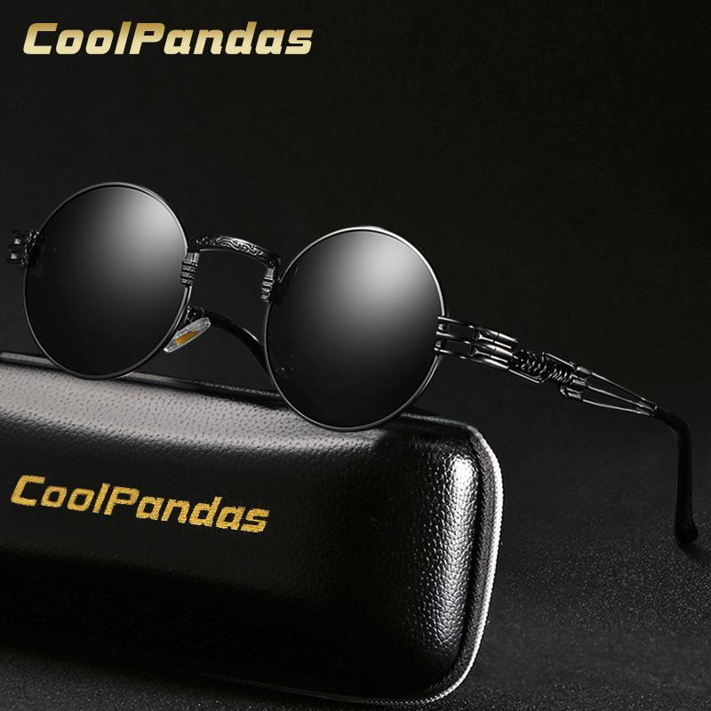 a9006f420 Compre Design Da Marca Gótico Steampunk Óculos De Sol Das Mulheres Dos  Homens Polarizados Retro Rodada Shades Óculos De Sol Espelho UV400 Oculos  De Sol ...
