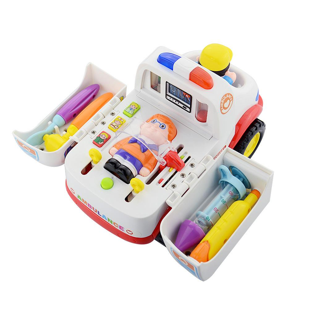 Children Ambulance Doctor Vehicle Car With Lights And Music Plastic Simulation Toys Ambulance Car Electric Pretend Doctor Set J190525