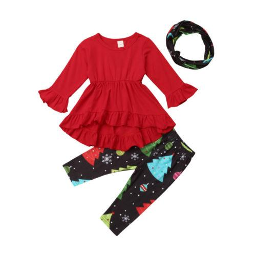 b54b6bc4610 2019 Toddler Kids Baby Girl Christmas Ruffle Tops Pants Headband Outfits  Clothes 1 5Years From Callshe