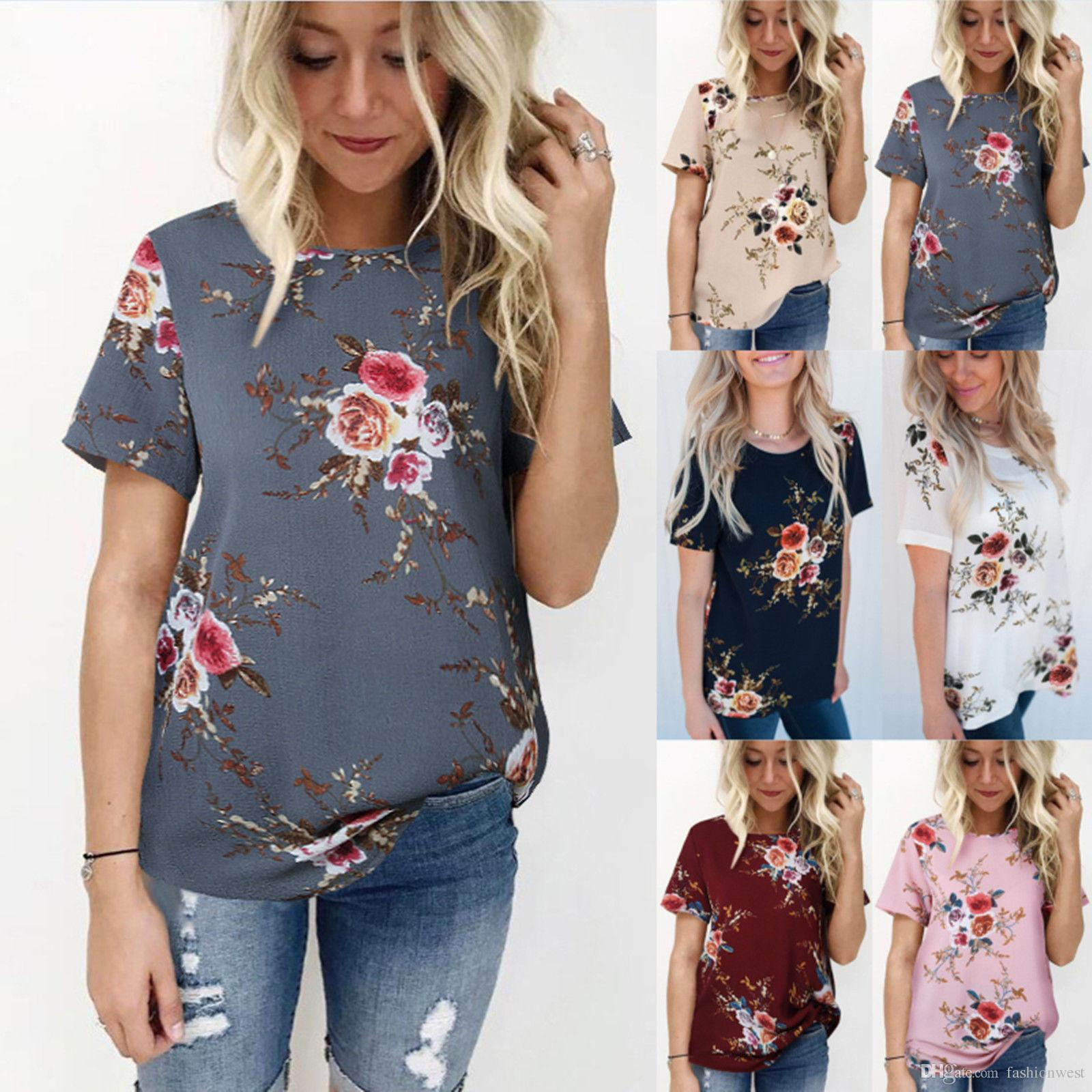 47d52ca72b13f 2019 Summer Womens Floral Tops Blouse Ladies Short Sleeve T Shirt Plus Size  6 20 Awesome Shirt Designs Funny Slogan T Shirts From Zhuwofacai
