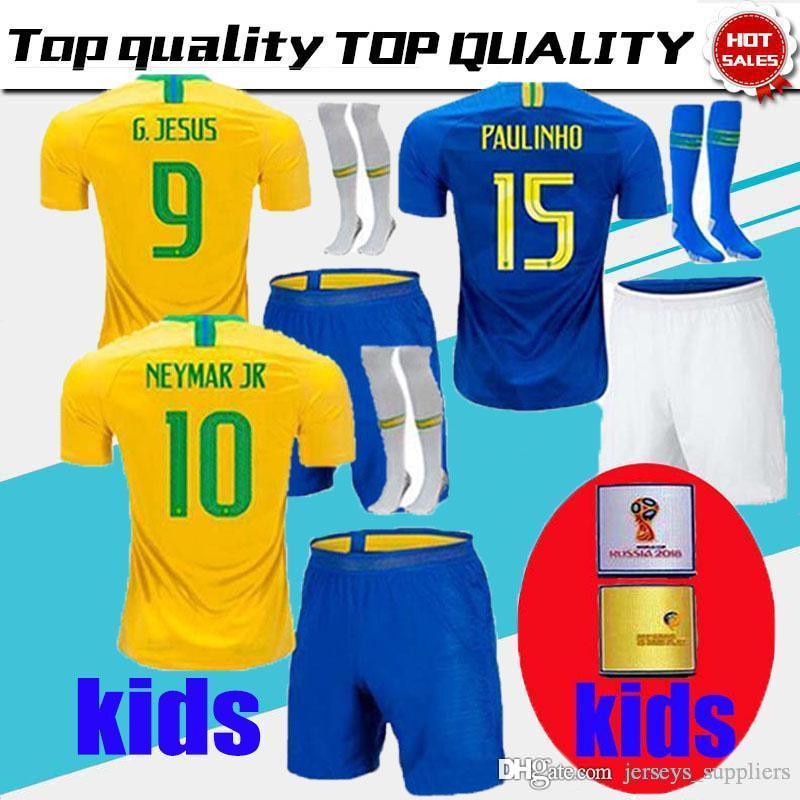 3dcafb1d2 Thailand Brazil KIDs KIT Soccer Jersey 2018 World Cup Brasil KIT 10 NEYMAR  JR Football Shirts 9 G.JESUS 11 COUTINHO MARCELO 12 Marcos UK 2019 From ...