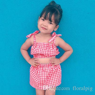 ab64fe849790b 2019 Infant Toddlers Kids Baby Girl Clothes 2019 Summer Cotton Red Plaid  Bandage Tops With Skirt Fashion Outfits From Floralpig, $40.21   DHgate.Com