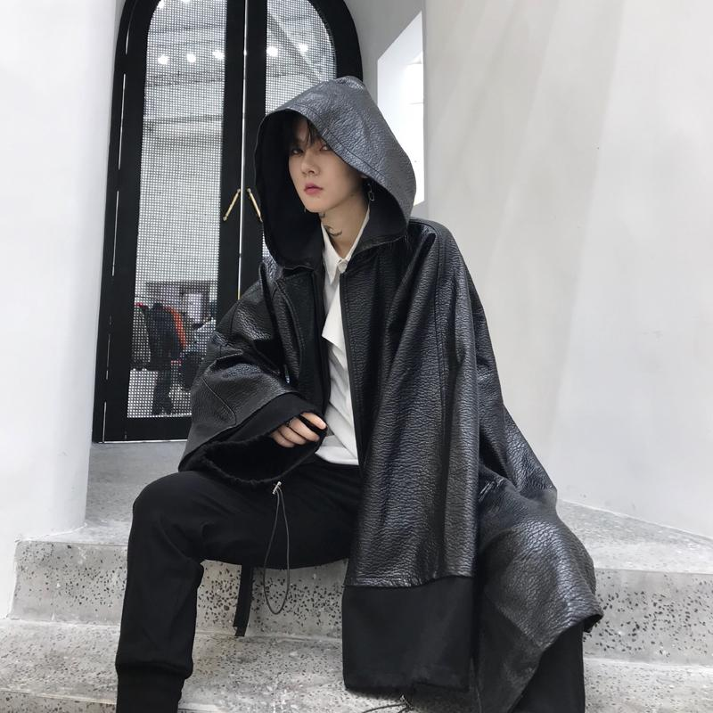 Winter men black long leather trench coat hip hop punk cloak nightclub singer stage costume gothic style long jacket overcoat
