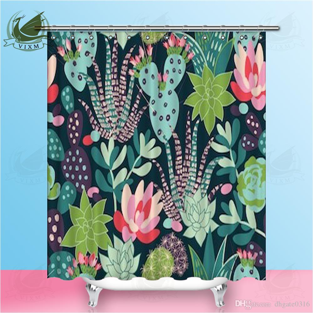 2019 Vixm Succulent Plants And Cactus With Diamond Geometry Shower Curtains Waterproof Polyester Fabric For Home Decor From Dhgate0316