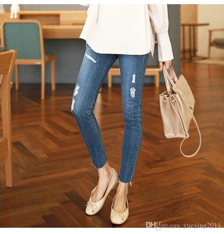 82125627aaf3 Acquista New Fashion Puseky Jeans Pantaloni Di Maternità Le Donne Incinte  Vestiti Pantaloni Infermieristica Prop Pancia Legging Gravidanza  Abbigliamento ...