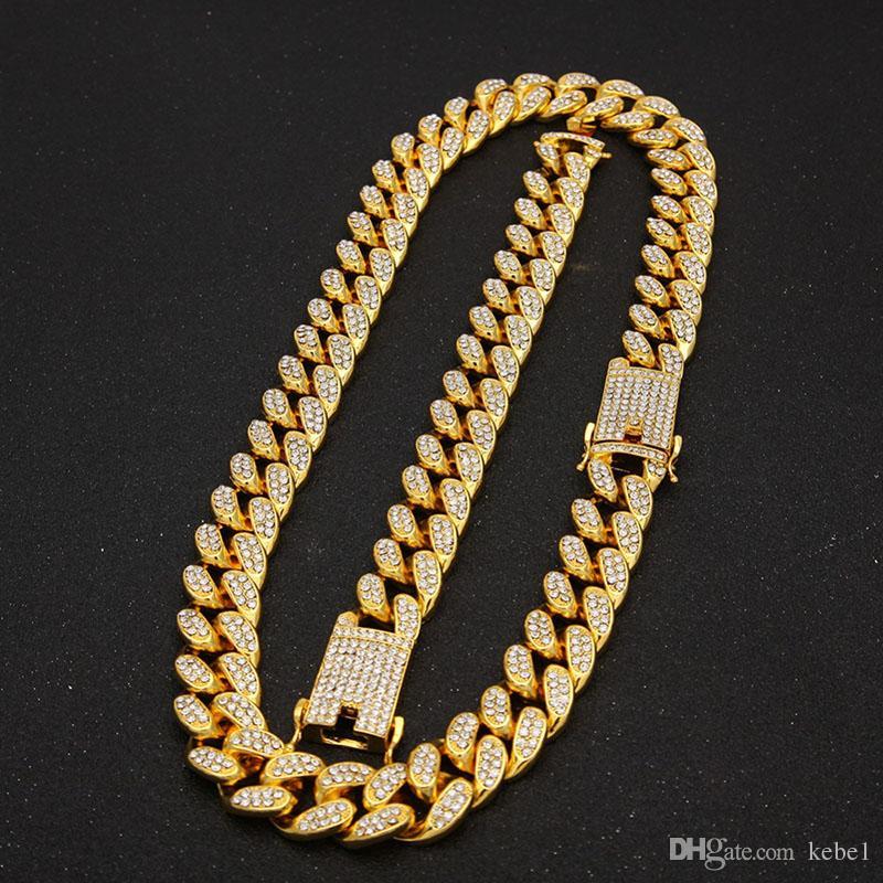36e86977aa5c Compre 2 Cm De Hip Hop Color Oro Helado Cristal De Miami Cadena Cubana Oro  Plata Collar Pulsera Conjunto CALIENTE VENDIENDO EL HIP HOP REY A  49.95  Del ...