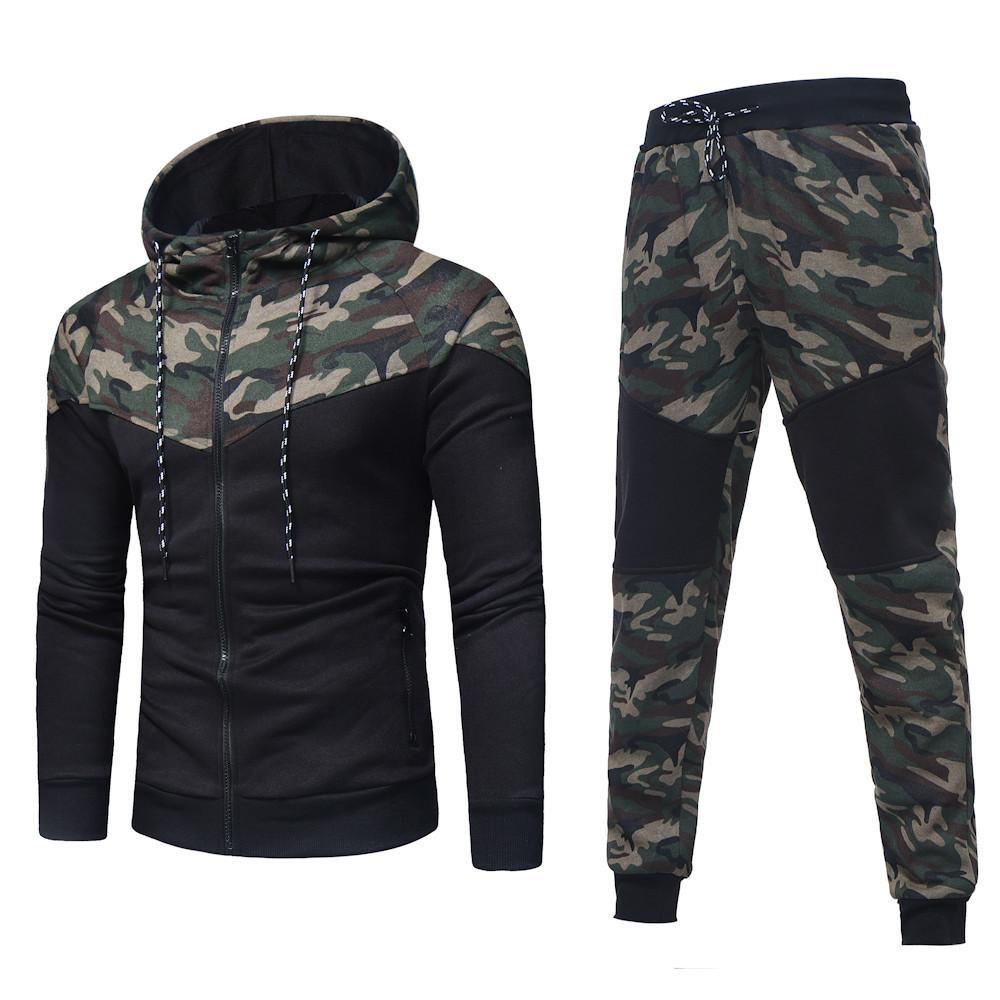 8f43b65f589ac 2019 2018 New Camouflage Printed Set Causal Patchwork Jacket Men Tracksuit  Sportswear Hoodies Sweatshirt Pants Jogger Suit D C19041303 From Lizhang03,  ...