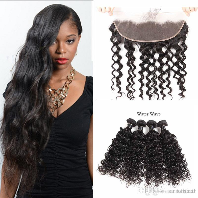 9A Brazilian Virgin Hair Loose Deep With Lace Frontal Closure 13x4 Ear to Ear Lace Frontal Closure With Hair Bundles Deep Water Wave