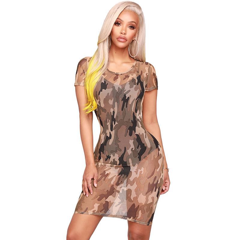 e2aa156179260 Sexy Women Summer See-through Dress Camouflage Print O Neck Short Sleeve  Bodycon Dress Mesh Slim Skinny Transparent Dress Green