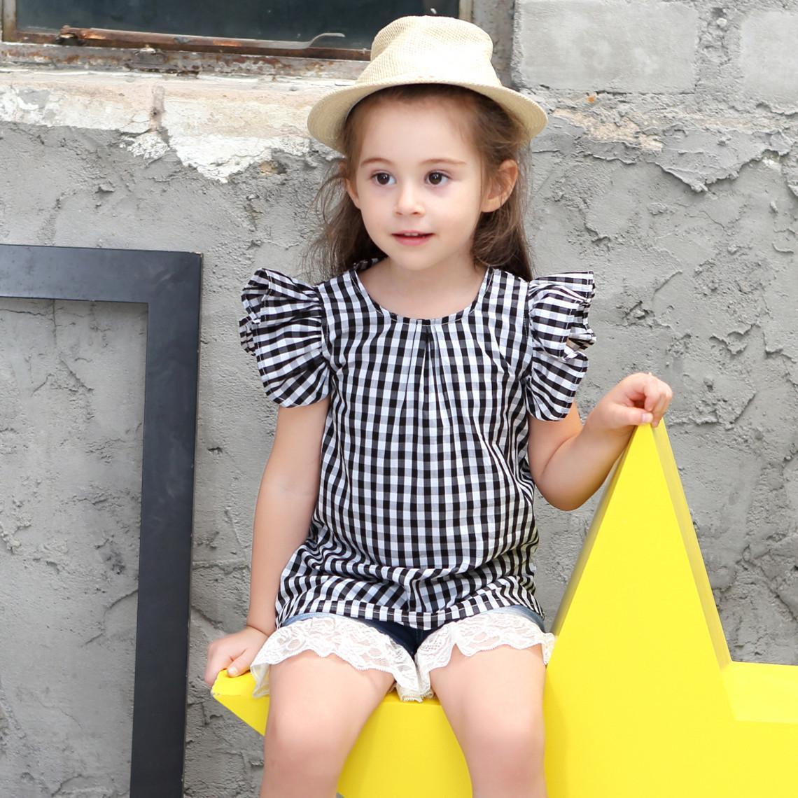 60c5735cce8ca Summer new Puff Sleeve Short Sleeve small sweet plaid cotton loose round  neck Europe and the United States children's clothing