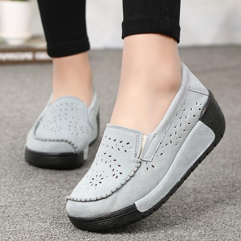 c18497aeb96 Casual Shoes Women S Flats Shoes Breathable Platform Wedge Heels  Spring Summer Casual Hollow Out Big Size Comfort Shoes Sneakers Online From  Liucpik