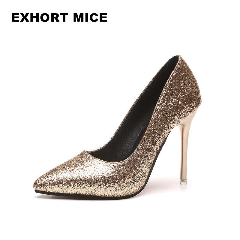 a4d6e4a72687 HOT Spring Autumn Women Pumps Sexy Gold Silver High Heels Shoes Fashion  Pointed Toe Wedding Shoes Party Women Shoes D 81 Strappy Heels Geox Shoes  From ...