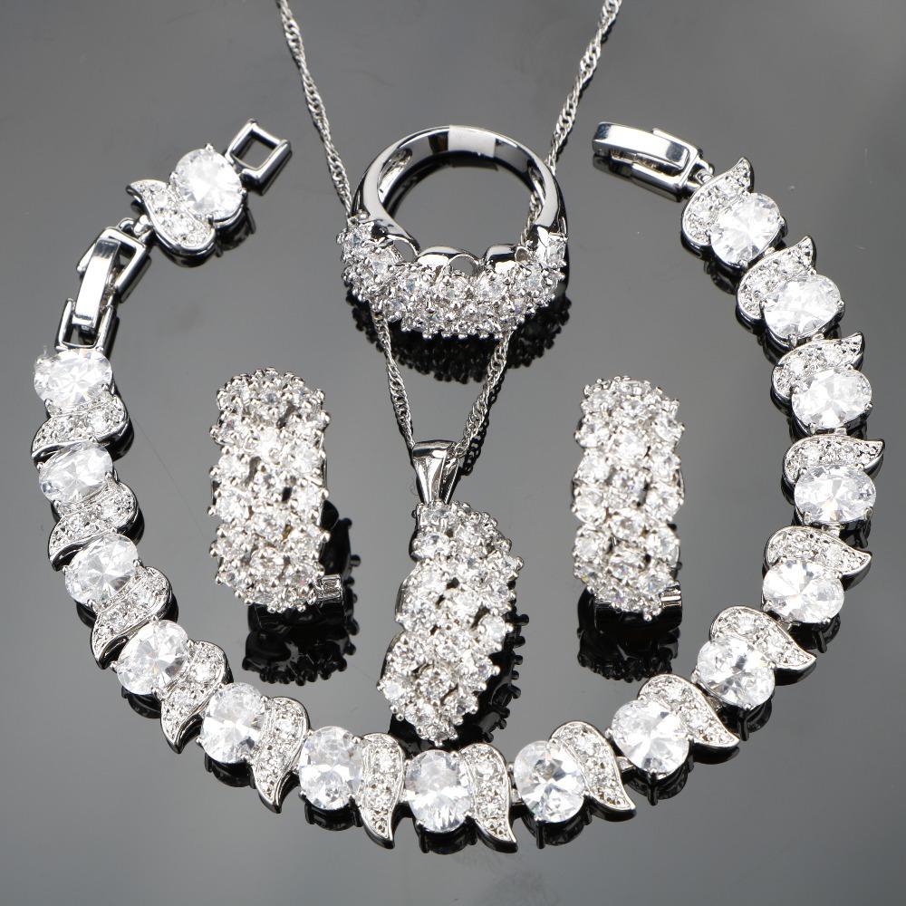 4528706bc Wholesale White Zircon Silver 925 Wedding Costume Jewelry Sets Women  Bracelets Clip Earrings Pendant Necklace Rings Set Jewellery Gift Box  Diamond Pendants ...