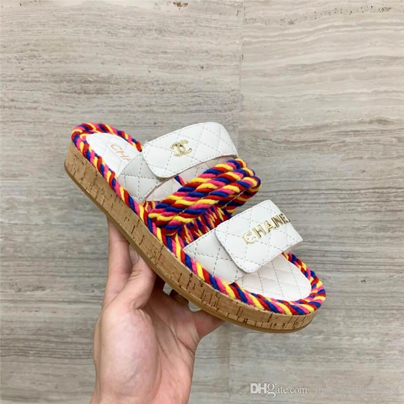 fc537c99e89 Summer Women Cord Sandals Mules, Lettering Colorful Straw Slippers Elegant  Girl Strap Rubber Sole Casual Flats