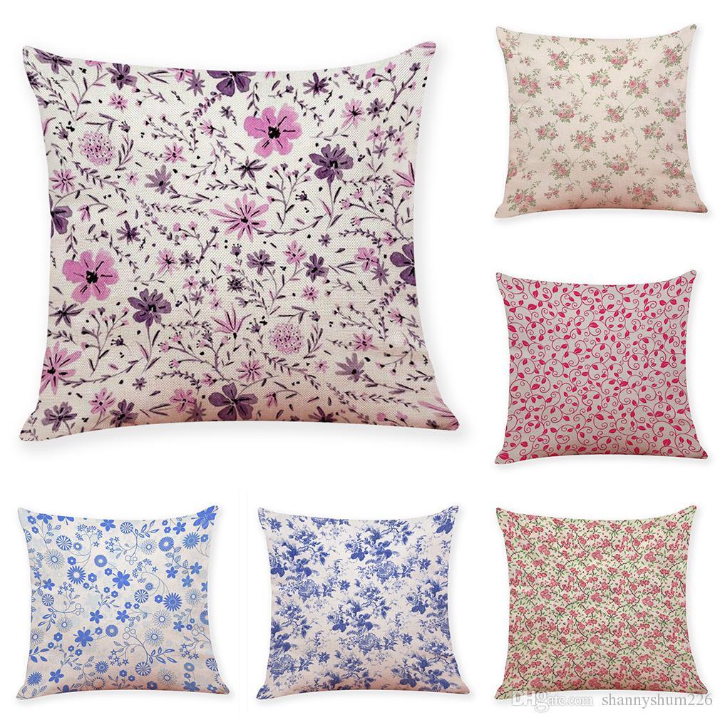 25241cafd Pequeño patrón floral Fundas de cojines de lino Sofá de oficina en casa  Funda de almohada Fundas de almohada decorativas sin inserto