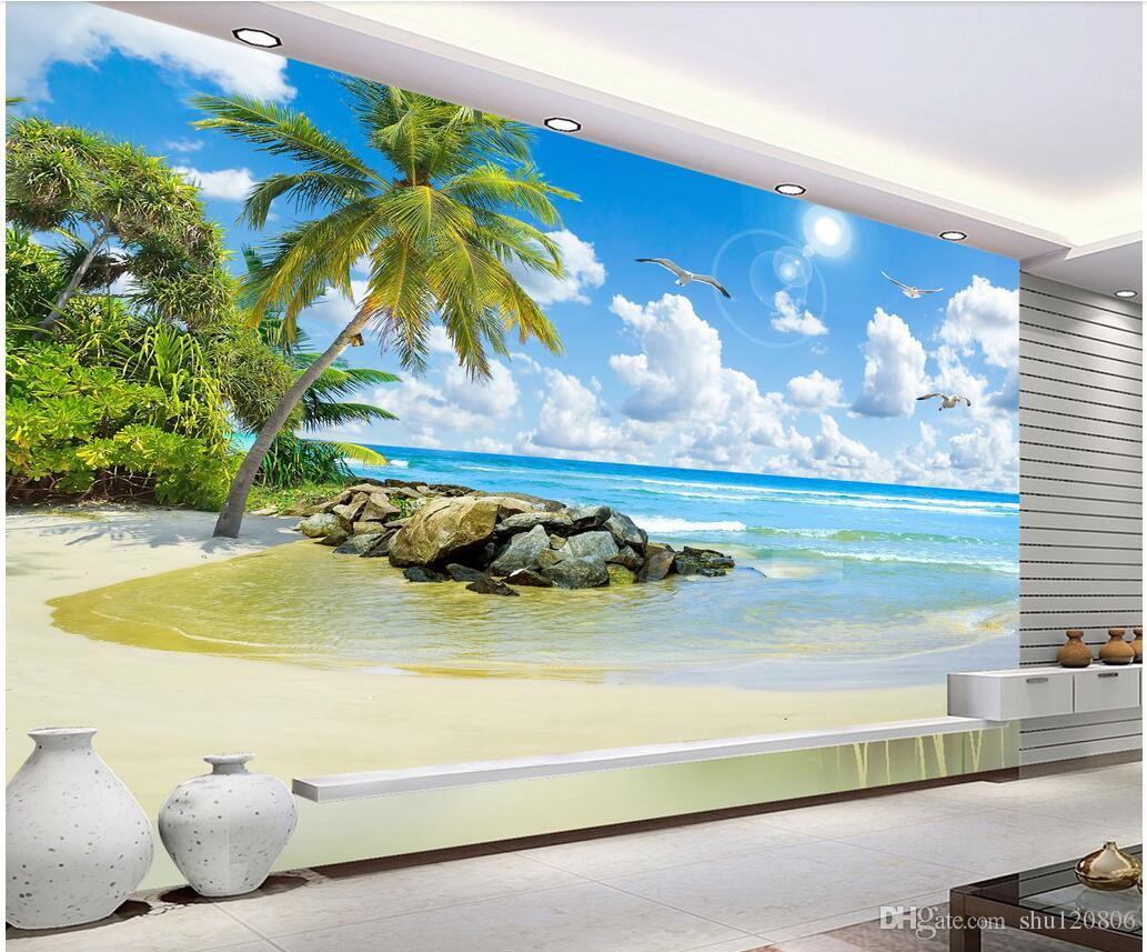 3d room wallpaper cloth custom photo Seascape coconut tree beach HD landscape Background wall 3d wall murals wallpaper for walls 3 d