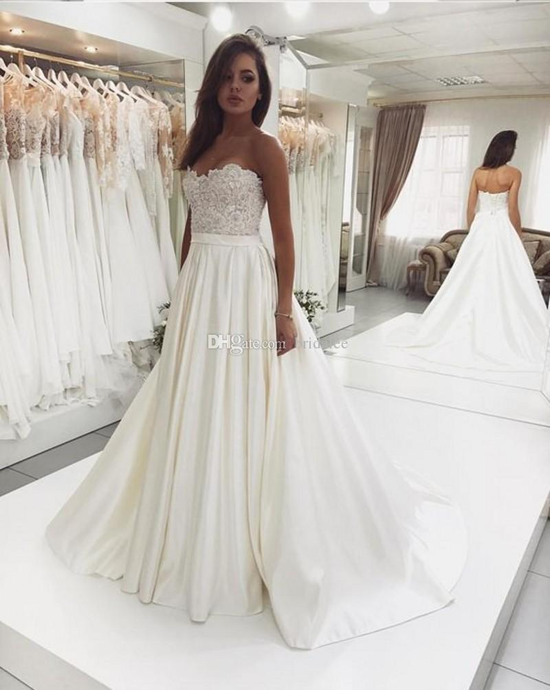 8ba7b24b533 Discount 2019 New Design Sweetheart A Line Lace Bodice Satin Ivory Wedding  Gowns Robe De Mariee Vintage Bride Wedding Dress Simple Wedding Dresses  Bridal ...