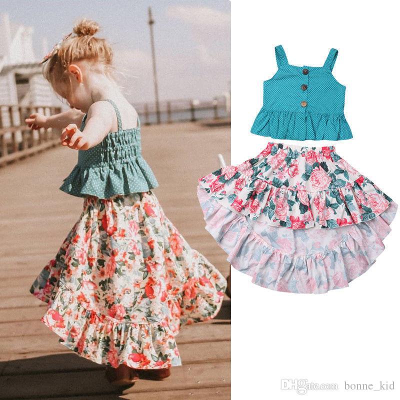 07cb43f31a3f 2019 Kid Girls Blue Dot Vest Asymmetrical Floral Skirts Princess Dresses  Bohemian Retro Children Baby Kid Clothing Summer Kid Girl Beach Clothes  From ...