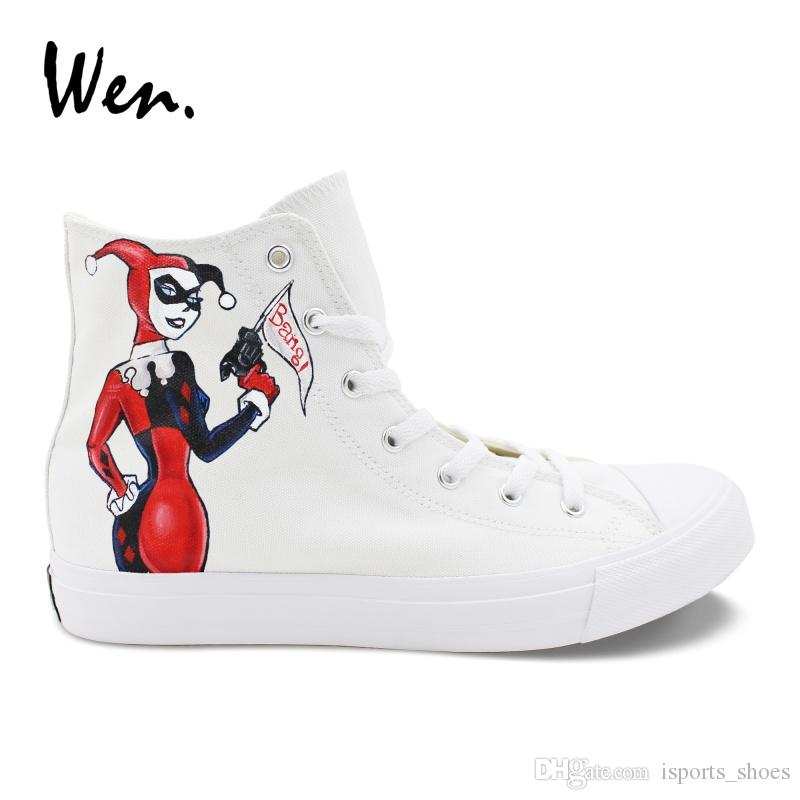 26c4ead2992160 Wen Casual Women Shoes Design Hand Painted Joker Harley Quinn Canvas  Sneakers Men High To Help Platform Flat Lacing Plimsolls  54744 Summer Shoes  Best Shoes ...