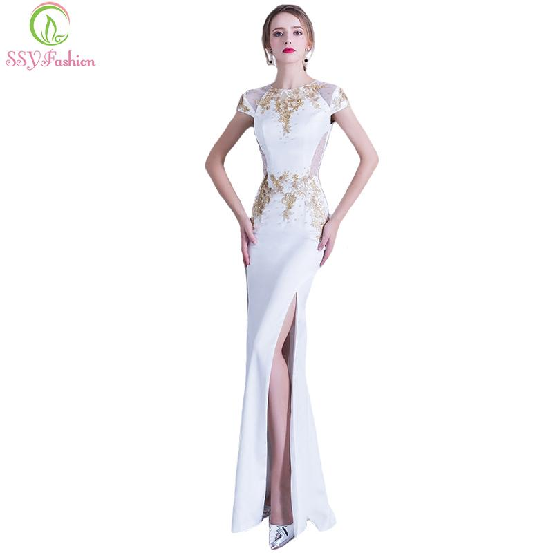 2019 SSYFashion New Banquet Elegant White Lace With Beading Mermaid Evening  Dress Sexy High Split Long Prom Party Gown Robe De Soiree C18122201 From ... 1334903f2795