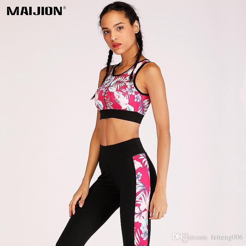 f0485345f Compre MAIJION Impreso Cremallera Fitness Yoga Establece Mujeres Sujetador De  Yoga Pantalones Finos Conjuntos Gimnasio Deportes Trajes De Correr Ropa ...
