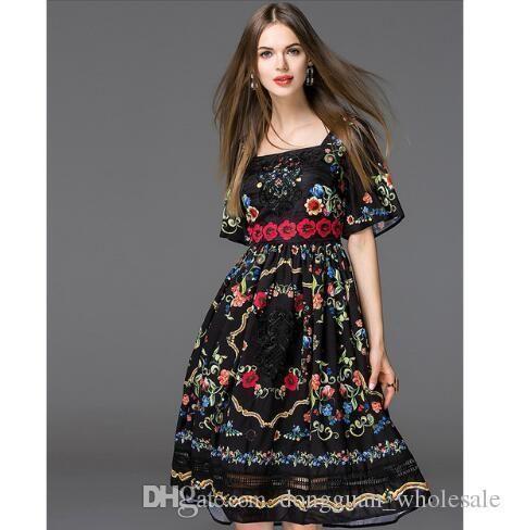 09067612d Compre Nuevo Estilo Europeo Mujeres Bonitas    S Cuello Cuadrado Estampado  De Flores Informal Una Línea De Bordado Vestido De Verano Vestido De Mujer  ...