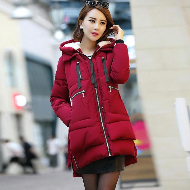 1e78cf0bc470 Ladies Long Sleeve Hooded Outerwear Coats Thicking Windbreakers Plus ...