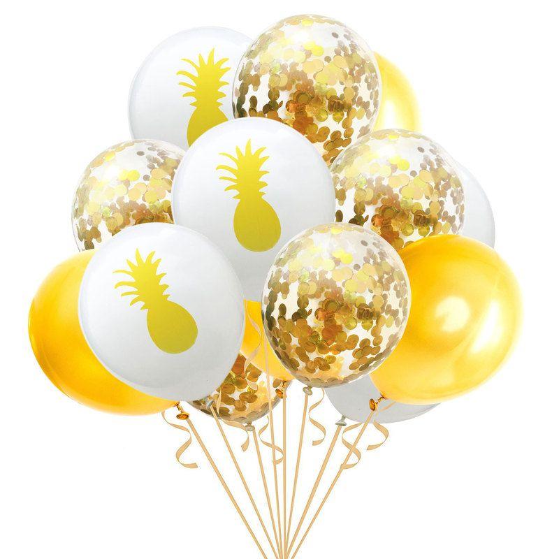15 stücke 12 zoll Flamingo Ananas Schildkröte Blatt Latex Luftballons Konfetti Luftballons für Hochzeitsdekoration Geburtstag Hawaii Party Decor