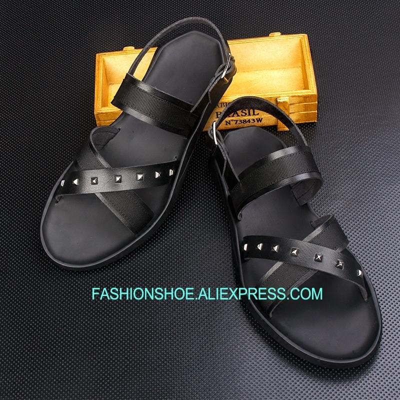 36f05ea7e8056 Outdoor Leisure Sandals Criss Cross Flat Heel Real Leather Summer Gladiators  for Men Online with  116.53 Piece on Zehanshoes s Store