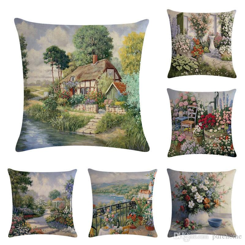 "Oil Painting Landscape Painting Series Pillow Case Linen Pillowcase Square 18"" Throw Cushion Cover Bedroom Cafe Home Sofa Waist Seat Decor"