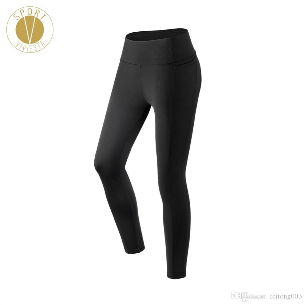 e9a35569d4aa5 2019 Classic High Waist Pocket Leggings Women'S Yoga Gym Pilates Active  Sports Slim Cut Stretch Elastic Full Length Tights Pants XL #753048 From  Feiteng003, ...