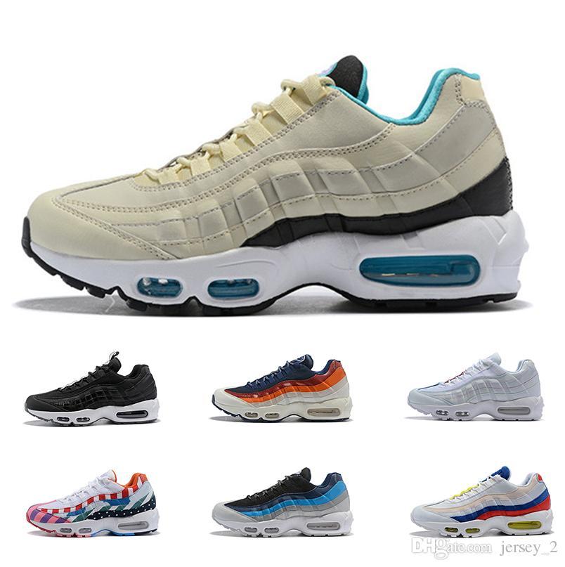 san francisco 4338b 653cb 2019 New Designer 95 Mens Women Running Shoes High Quality Triple Black  White Grey Blue 95s Sports Sneakers Outdoor Shoe 36-45