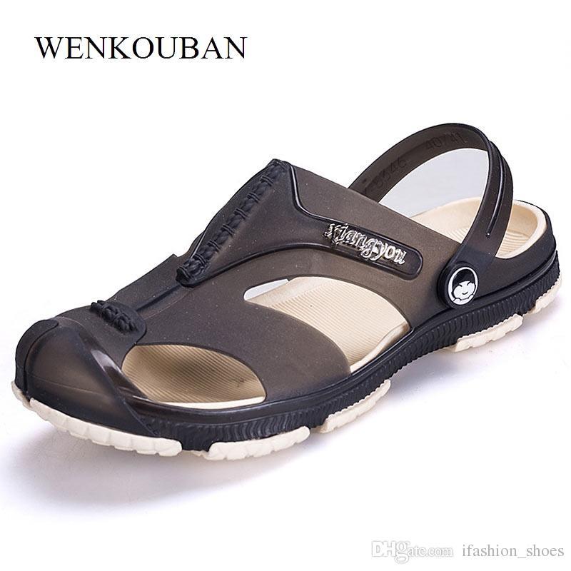 c2723fc0bcec Summer Men Sandals Beach Shoes Breathable Men S Slippers Flip Flops Male  Closed Toe Garden Clogs Outdoor Fisherman Sandals  56962 Platform Heels  Black ...