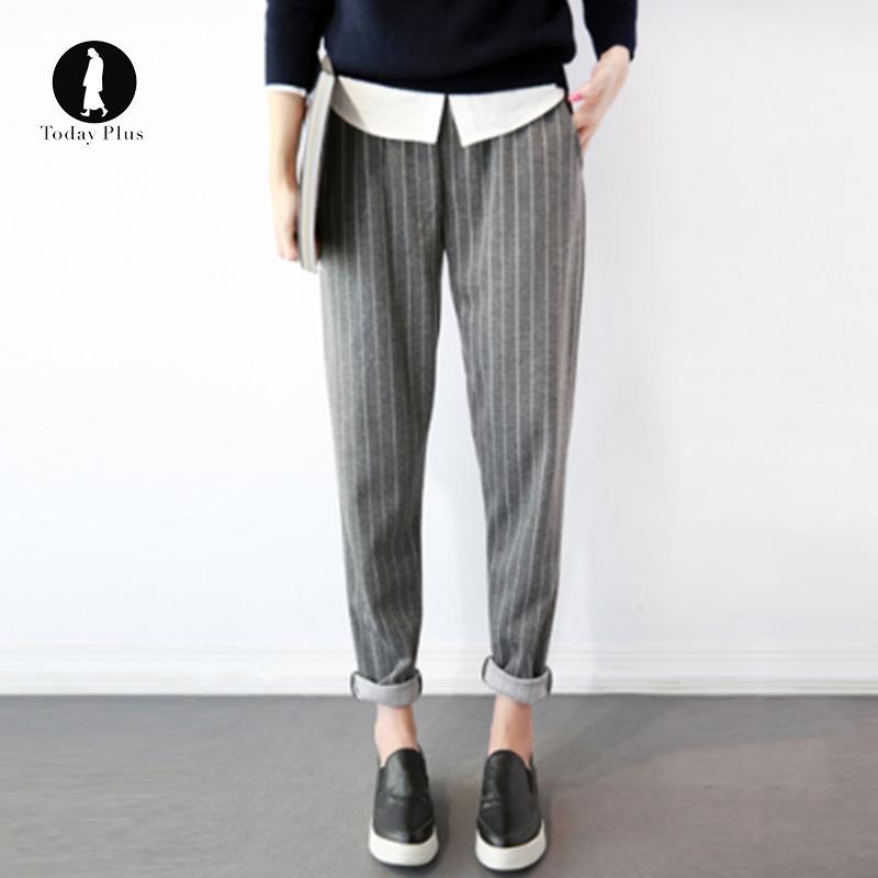 57a85d8f1c 2019 Casual Loose Harem Pant Trousers Women Elastic Waist Stripes Pants  Fashion Plus Size Female Black Grey Elegant Party Pants S 5XL From Yonnie,  ...