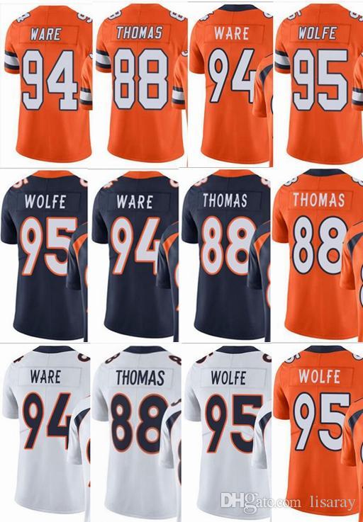 low cost 26532 fd262 Bronco #88 Demaryius Thomas #94 DeMarcus Ware #95 Derek Wolfe Men Women  Youth Vapor Untouchable Color Rush Custom Elite Football Jersey