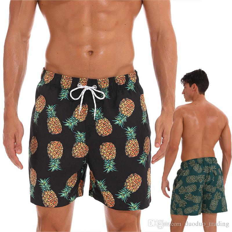 55b9e8d2dab62 2019 Men Swim Trunks Quick Dry Bathing Suits Beach Shorts With Mesh Lining  Cartoon Pineapple Pattern Summer Sport Beach Bermuda Short Pants From ...