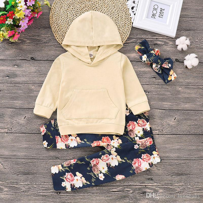 Baby Girls Cartoon Set Infant Girls Solid Long Sleeve Hoodie Kids Designer Clothes Toddler Baby Outfits Floral Pants With Headband 06