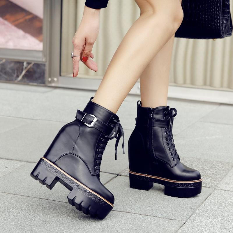 ded209f81cd Platform Chunky Heels Ankle Boots Women Lace Up Shoes Buckle Flocking Wedge  Boot Winter Inner Heightening Booties Black White