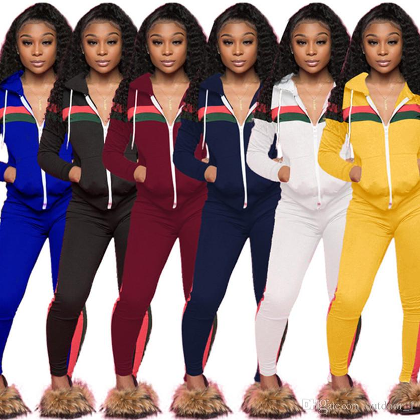 0e6d5670860 Designer Women Sweatsuit Joggers Jacket Set Striped Outfits Sweatshirt  Leggings Winter Clothes Sportswear Pants Hoodie Tracksuit Online with  $16.88/Set on ...
