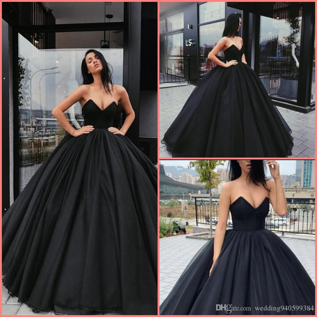 2019 Ball Gown Wedding Dresses: Vintage 2019 Simple Black Wedding Dresses New Arrival Ball