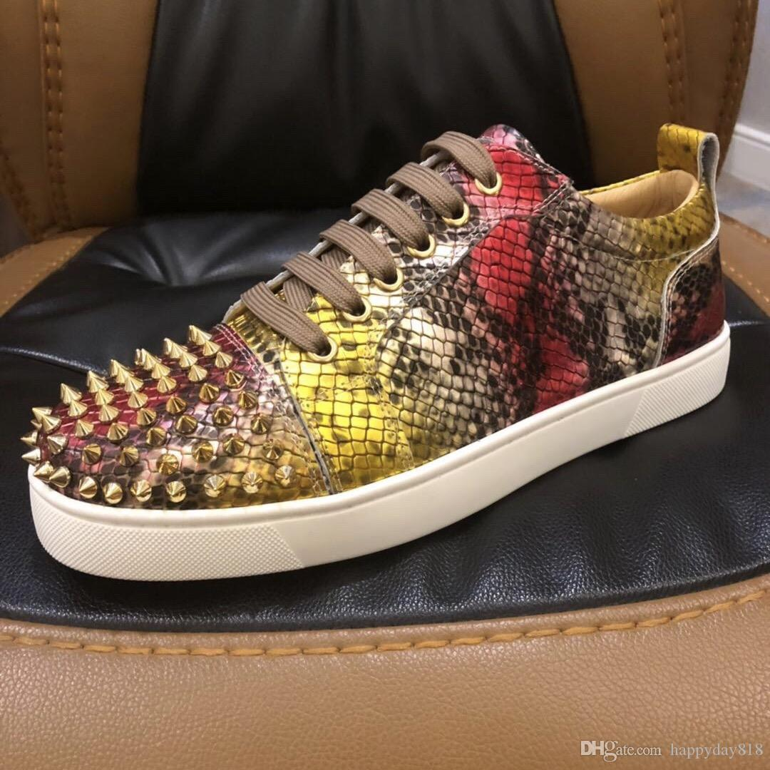 Fashion Casual Men S Designer Sneakers Yellow Snake Python Printed Studded  Spikes Shoes Boots Mens Loafers Buy Shoes Online From Happyday818 2b3dd4711a40
