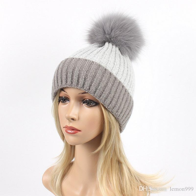 Nouveau Hiver Tricot Femmes Chapeau deux fourrure Beanies chaud laine bonnet Beanie Pom Girls Chapeaux
