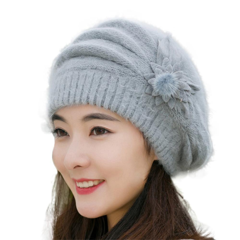 459b51850333 Acheter Béret Femme De Mode Femmes Fleur Tricot Crochet Bonnet Chapeau Hiver  Chaud Cap Bérets Casquettes Pour Femmes Bonnet Béret Femme En Laine Y30 De  ...