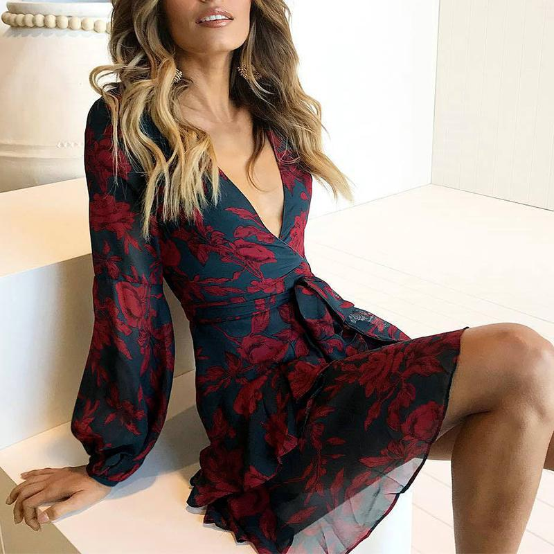 3400a15b82 Uzzdss Summer Women Dress 2018 Sexy Deep V Neck Floral Printed Mini Party  Dress Lady Beach Dresses Causal Long Sleeve Y190425