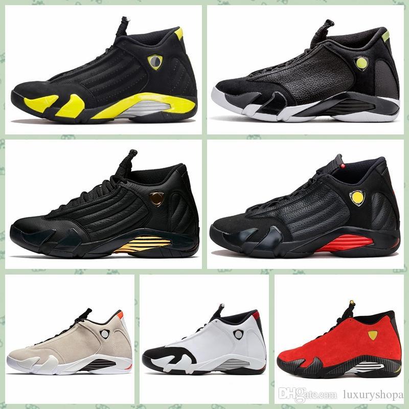 huge selection of 29ee3 f08d0 Nike Air jordan 14 Retro AJ AJ14 Hombres baratos retro 14s zapatos al aire  libre bajos en venta J14 Laney Azul Negro Toe Blanco Rojo Criado AJ14 ...