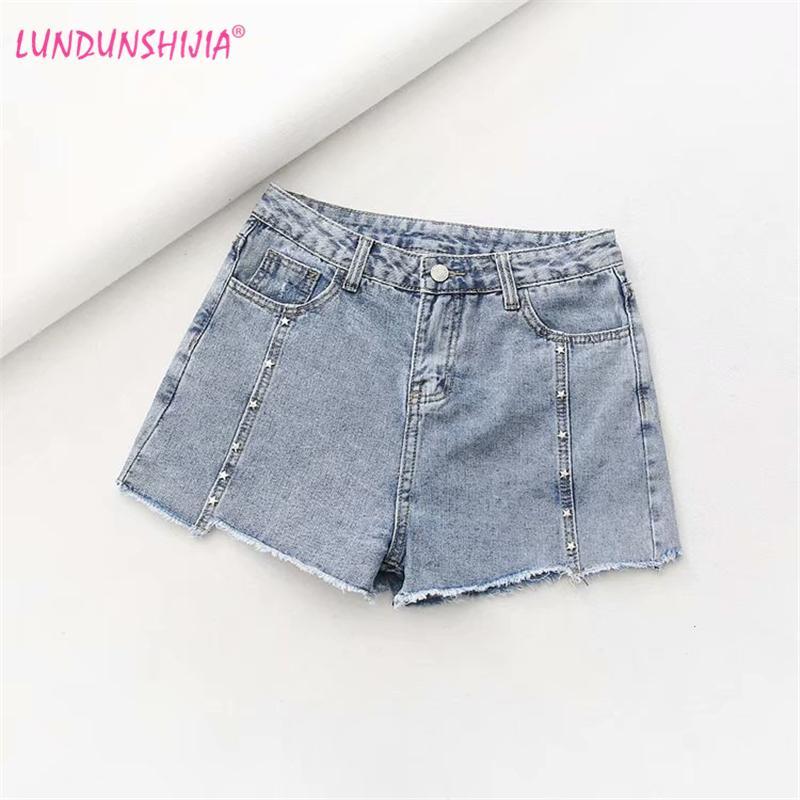2019 Lundunshijia 2019 Summer Women High Waist Denim Shorts Fashion