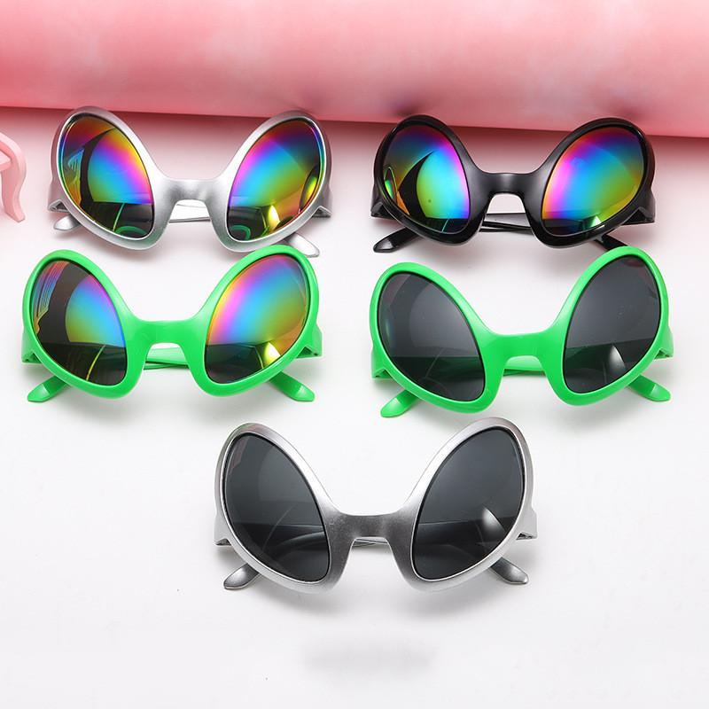 Fashion Alien Shaped Sunglasses Halloween Funny Glasses Pilot Vintage Retro Glasses Cosplay Costume Christmas Decoration Party Props 5 Color